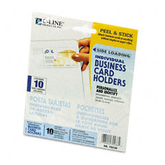 C-line - self-adhesive business card holders, side load, 3-1/2 x 2, clear, 10/pack, sold as 1 pk