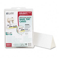 C-line - tent cards, white, 4-1/4 x 11, 1 card/sheet, 50 cards/box, sold as 1 bx