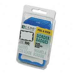 C-Line 92265 Self-Adhesive Name Badges, 3-1/2 X 2-1/4, Blue, 100/Box