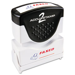 Accustamp2 - accustamp2 shutter stamp with microban, red/blue, faxed, 1 5/8 x 1/2, sold as 1 ea