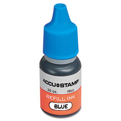 Cosco - accu-stamp gel ink refill, blue, 0.35 oz bottle, sold as 1 ea