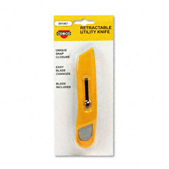 Cosco - plastic utility knife w/retractable blade & snap closure, yellow, sold as 1 ea