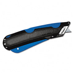 Cosco - easycut cutter knife w/self-retracting safety-tipped blade, black/blue, sold as 1 ea