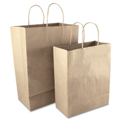 Consolidated Stamp 091565 Premium Small Brown Paper Shopping Bag, 50/Box