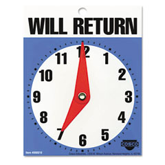 Cosco - will return later sign, 5-inch x 6-inch, blue, sold as 1 ea