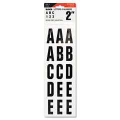 Cosco - letters, numbers & symbols, adhesive, 2-inch, black, sold as 1 ea