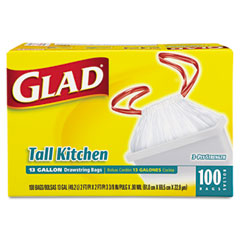 Clorox COX78266 Drawstring Tall Kitchen Bags, 13 gallon, .95mil, 24 x 48, White, 100/Box
