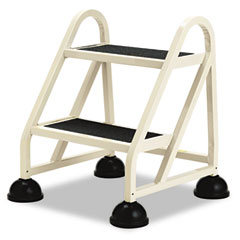 Cramer - stop-step two-step aluminum ladder, 21-1/4w x 20-1/4d x 22-7/8h, beige, sold as 1 ea