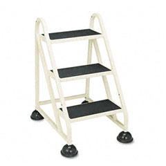 Cramer - stop-step three-step aluminum ladder, 21-3/8w x 27-1/4d x 31-3/4, beige, sold as 1 ea
