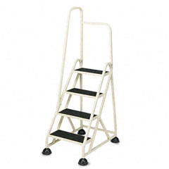 Cramer - four-step stop-step folding aluminum handrail ladder, beige, sold as 1 ea