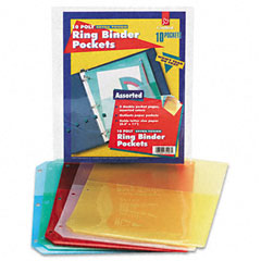 Cardinal - ring binder poly pockets, 8-1/2 x 11, assorted colors, 5 pockets/pack, sold as 1 pk