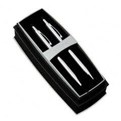 A.T. Cross 350105 Classic Century Ballpoint Pen & Pencil Set, Chrome/Black Accent