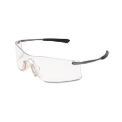 Crews - rubicon frameless safety glasses, silver metal temples, clear lens, sold as 1 ea