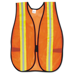 Mcr safety - orange safety vest, 2-inch reflective strips, polyester, side straps, one size, sold as 1 ea