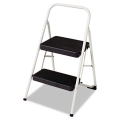 Cosco - two-step all steel folding step stool, 220-lb., 17 3/8w x 18d x 28 1/8h, gray, sold as 1 ct