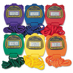 Champion sports - water-resistant stopwatches, 1/100 second, assorted colors, 6/set, sold as 1 bx