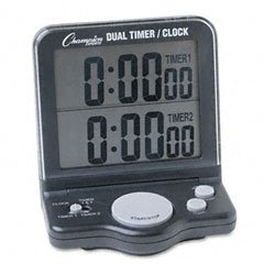 Champion sports - dual timer/clock w/jumbo display, lcd, 3 1/2w x 1d x 4 1/2h, sold as 1 ea