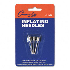 Champion sports - nickel-plated inflating needles for electric inflating pump, 3 needles/pack, sold as 1 pk