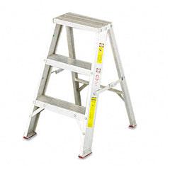 Louisville - #429 aluminum two-step stool w/side locks, 16-3/8w x 20 spread x 24h, sold as 1 ea