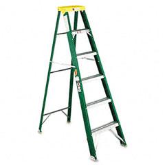 Louisville - #592 six-foot folding fiberglass step ladder, green/black, sold as 1 ea