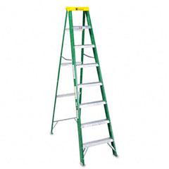 Louisville - #592 eight-foot folding fiberglass step ladder, green/black, sold as 1 ea