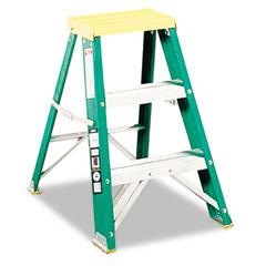 Louisville - #624 folding fiberglass locking two-step stool, 17w x 22 spread x 24h, yellow, sold as 1 ea