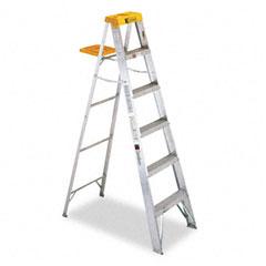 Louisville - #428 six-foot folding aluminum step ladder, green, sold as 1 ea