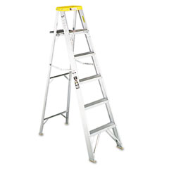 Louisville - #428 eight-foot folding aluminum step ladder, yellow, sold as 1 ea