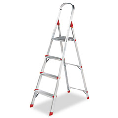 Louisville - #566 four-foot folding aluminum euro platform ladder, red, sold as 1 ea