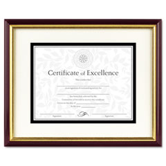 Dax - document/certificate frame w/mat, laminated wood, 11 x 14, mahogany/gold leaf, sold as 1 ea