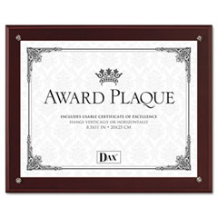Dax - plaque-in-an-instant kit w/certificates/mats, wood/acrylic 10-1/2 x 13, mahogany, sold as 1 ea