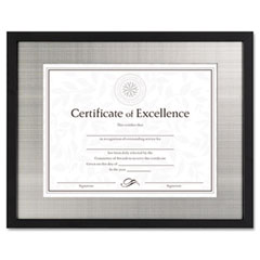 Dax - contemporary wood document/certificate frame, silver metal mat, 11 x 14, black, sold as 1 ea