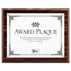 Dax - award plaque, wood/acrylic frame, fits up to 8-1/2 x 11, walnut, sold as 1 ea