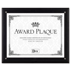 Dax - award plaque, wood/acrylic frame, fits up to 8-1/2 x 11, black, sold as 1 ea