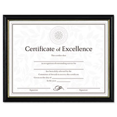 Dax - two-tone document/diploma frame, wood, 8-1/2 x 11, black w/gold leaf trim, sold as 1 ea