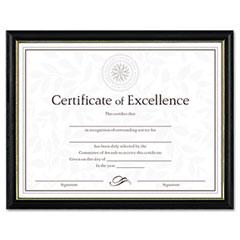 Dax - two-tone document/diploma frame, wood, 8-1/2 x 11, black w/gold leaf trim, sold as 1 ea
