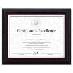 Dax - solid wood award/certificate frame, 8-1/2 x 11, black w/walnut trim, sold as 1 ea