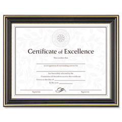 Dax - gold-trimmed document frame w/certificate, wood, 8-1/2 x 11, black, sold as 1 ea