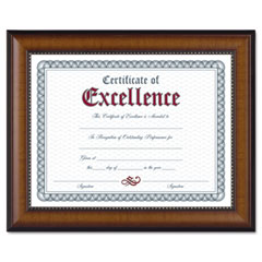 Dax - prestige document frame, walnut/black, gold accents, certificate, 8 1/2 x 11-inch, sold as 1 ea