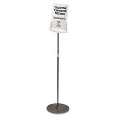 Durable - sherpa infobase sign stand, acrylic/metal, 40-inch-60-inch high, gray, sold as 1 ea