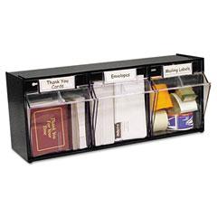 Deflect-o - tilt bin plastic storage system, 3 bins, 23 5/8 x 7 3/4 x 9 1/2, black, sold as 1 ea