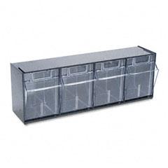 Deflect-o - tilt bin plastic storage system w/4 bins, 23 5/8 x 6 5/8 x 8 1/8, black, sold as 1 ea