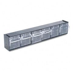 Deflect-o - tilt bin plastic storage system w/6 bins, 23 5/8 x 3 5/8 x 4 1/2, black, sold as 1 ea