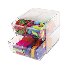 Deflect-o - desk cube, with four drawers, clear plastic, 6 x 7-1/8 x 6, sold as 1 ea