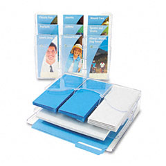 Deflect-o - three-tier document organizer w/dividers, 13-3/8w x 3-1/2d x 11-1/2h, clear, sold as 1 ea