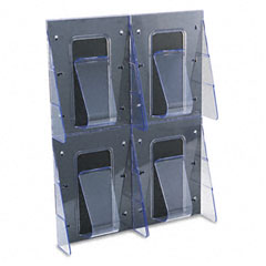 Deflect-o - multi-pocket wall-mount literature systems, 18-1/4w x 2-7/8d x 23-1/2h,clear/bk, sold as 1 ea