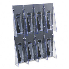 Deflect-o - multi-pocket wall-mount literature systems, 18-1/4w x 2-7/8d x 23-1/2h, clear/bl, sold as 1 ea