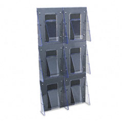 Deflect-o - multi-pocket wall-mount literature systems, 18-1/4w x 2-7/8d x 35-1/4h,clear/bk, sold as 1 ea