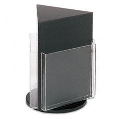 Deflect-o - countertop revolving literature racks, 3 compartments, 10-1/4w x 13h, black, sold as 1 ea