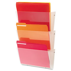Deflect-o - unbreakable wall file set, letter, three pocket, clear, sold as 1 st